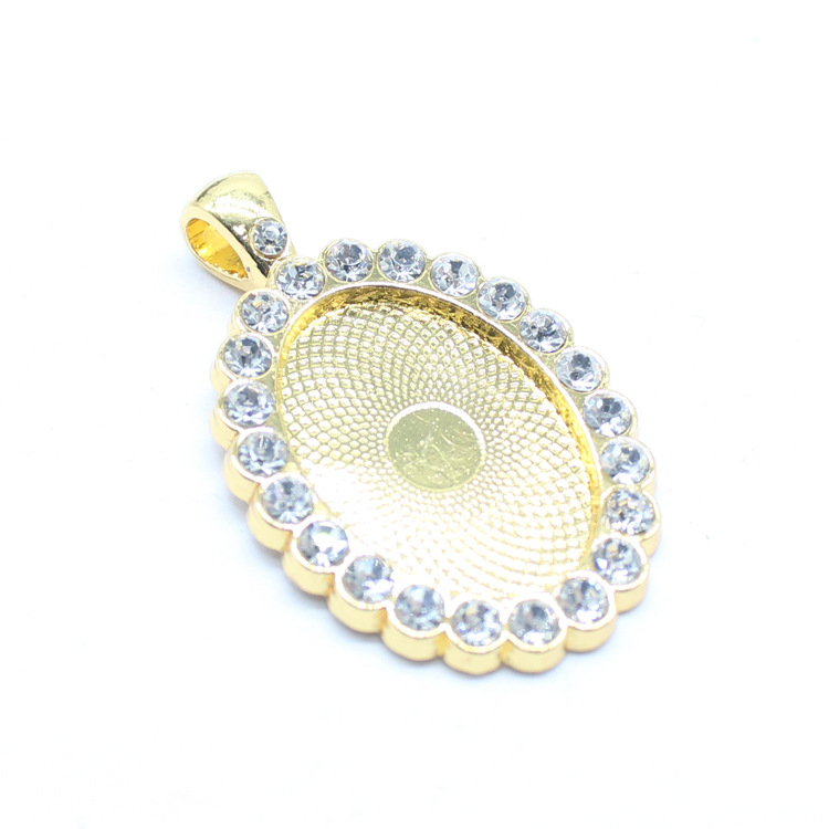 XM001 Trade Assurance Antique 18*25mm Oval Setting with Crystal Pendant Tray Alloy Base Jewelry Accessories