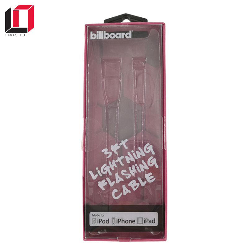 Wholesale paperboard hanging clear window adapter data usb cables packaging boxes for iphone ipod ipad