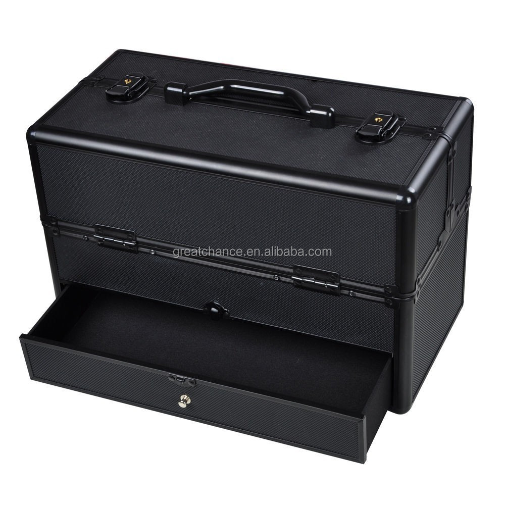 Pro Aluminum Cosmetic Makeup Train Case W/Drawer Trays Lockable Black Box