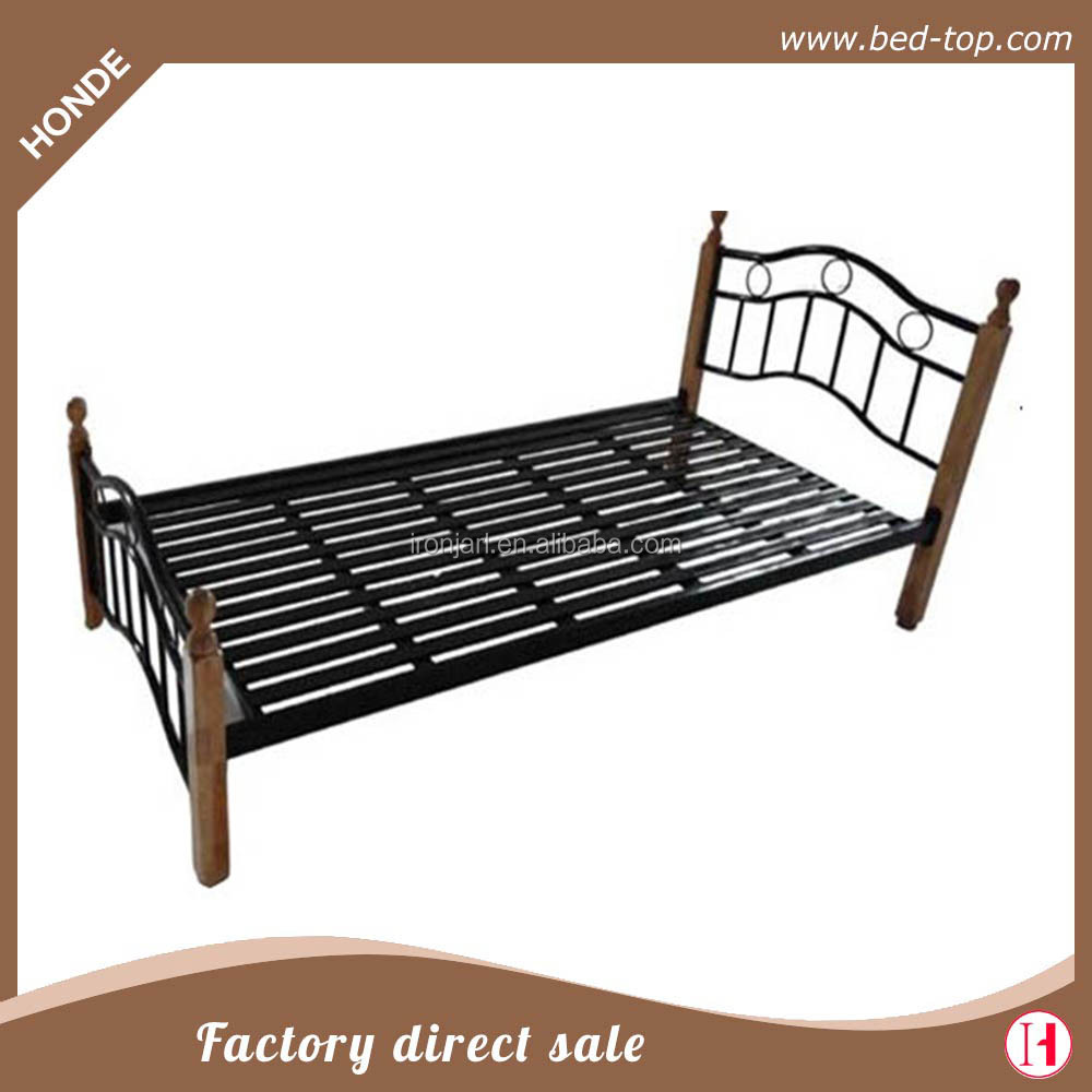 Metal Frame Single Cot Bed With Wood Legs - Buy Single Cot Bed Size ...
