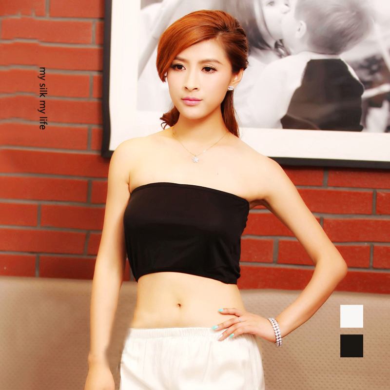 New pattern silk knitted tube tops solid color 100 pure silk tube tops Intimate comfortable tube