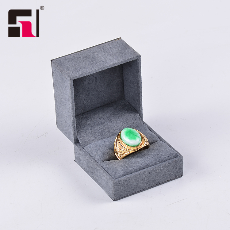Scatola di imballaggio di monili di lusso di trasporto personalizzato logo, grigio pu in pelle di velluto gioielli box set, contenitore di monili del regalo della collana del braccialetto del braccialetto dell'anello