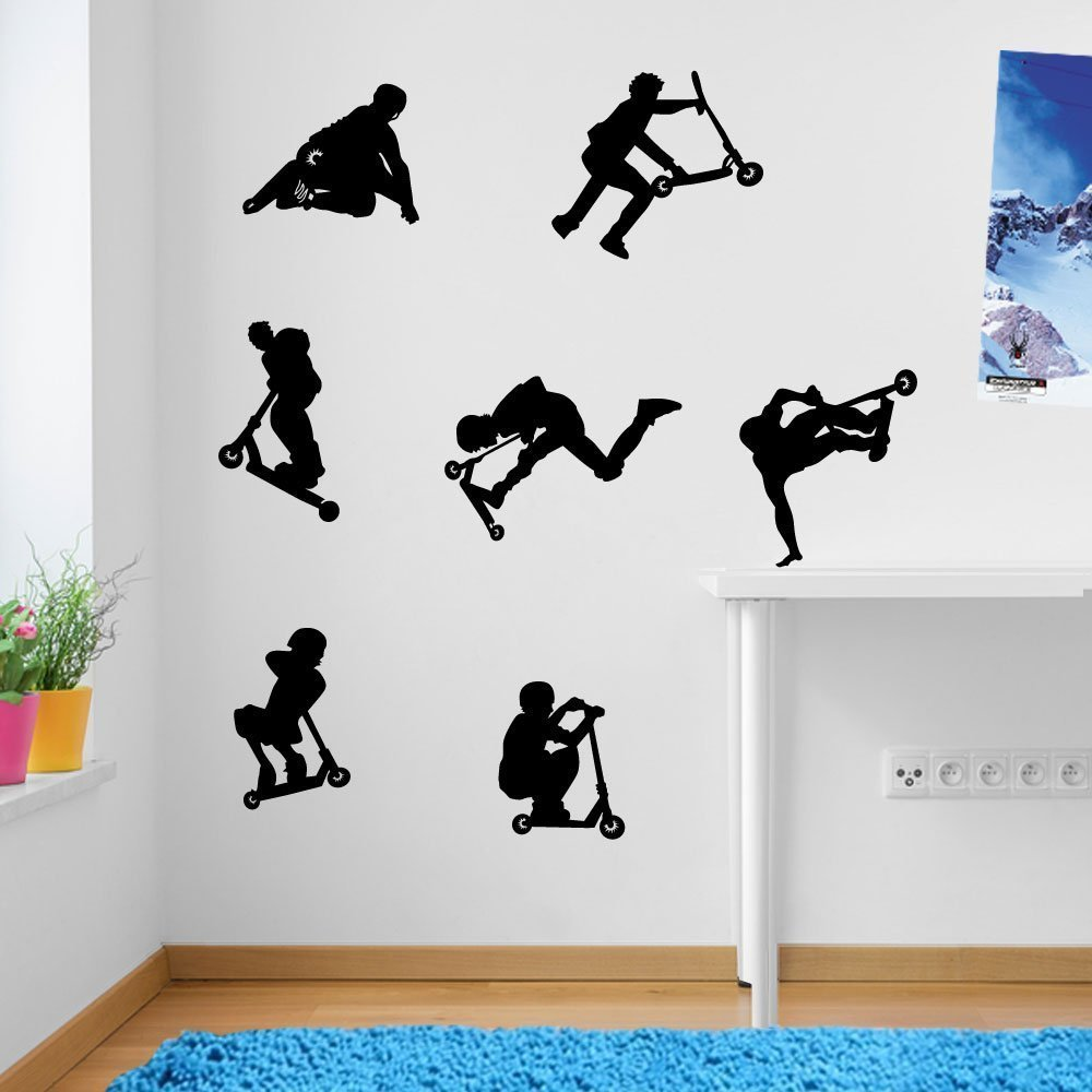 Kids Stunt Scooters, jumps, Tricks, Wall Decorations Wall Stickers Vinyl Decor Wall Art Wall Decals Wall Decal Decals Children Wall Decals