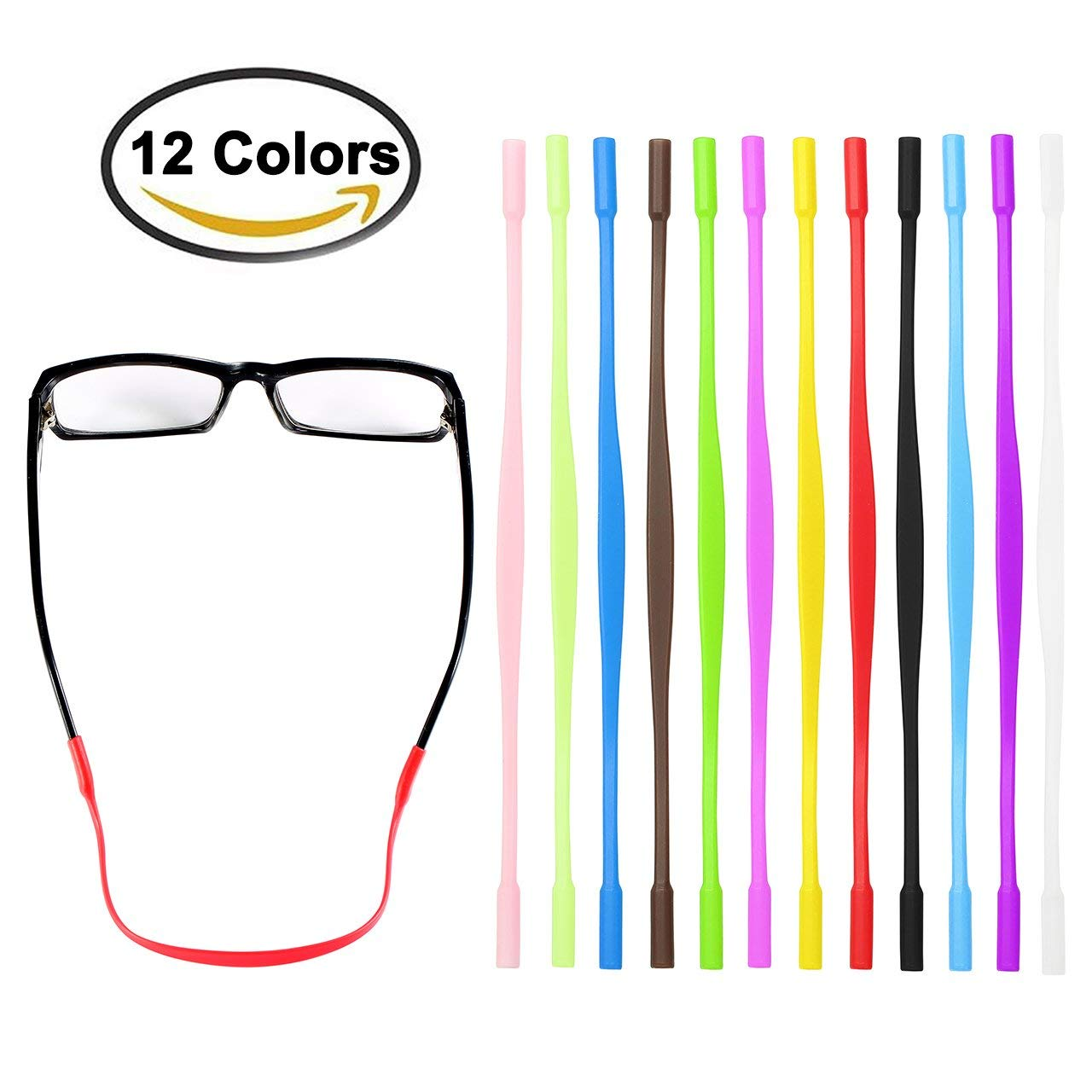uxcell Silicone Elastic Eyeglasses Straps Sports Band Cord Holder