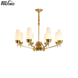 New Modern White Finish Iron Fitting Golden Chain Hanging Large Pendant Lamp Chandelier for Hotel Restaurant LD1187