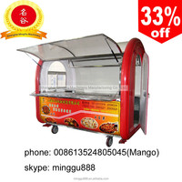 mobile stainless snack food cart (CE) with many fuction , barbecue ,fired,oden and hot sale