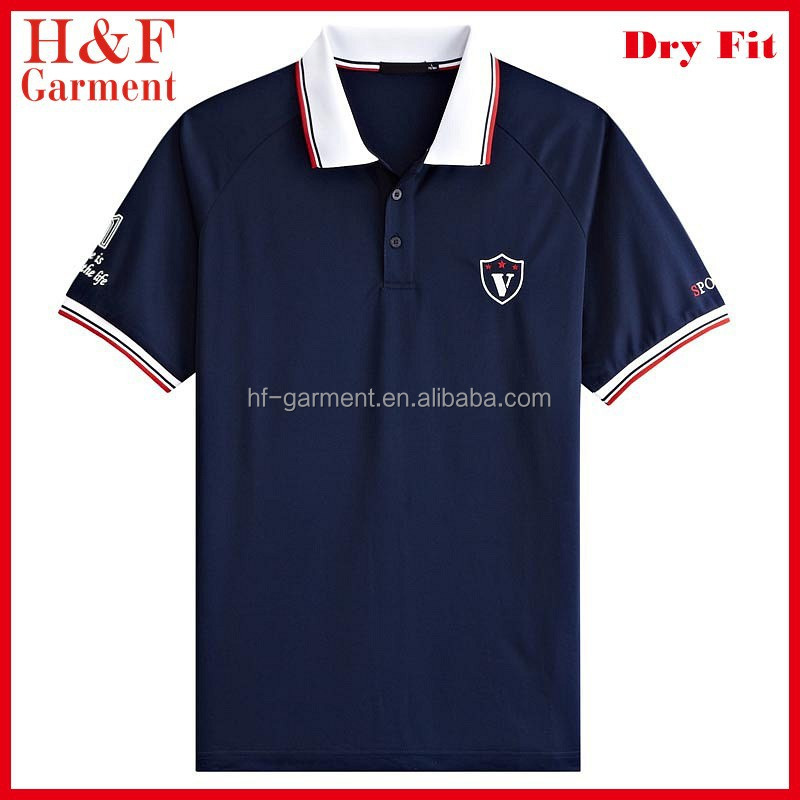 Polo collar sport t shirts quick dry custom embroidery logo