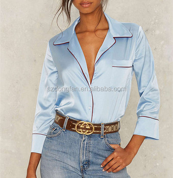 Pajama Style Blue Satin Fabric Blouse Shirt Long Sleeve Silk Tops
