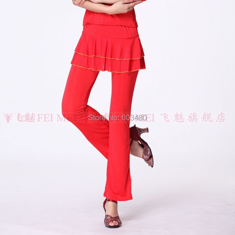 eead02b5274 Get Quotations · Women s Square Dance costumes Pants Dancing practice milk  silk trouser Latin dance pants covered wires culottes