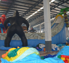 Giant used inflatable gorilla water park and bouncy castle with slides for sale