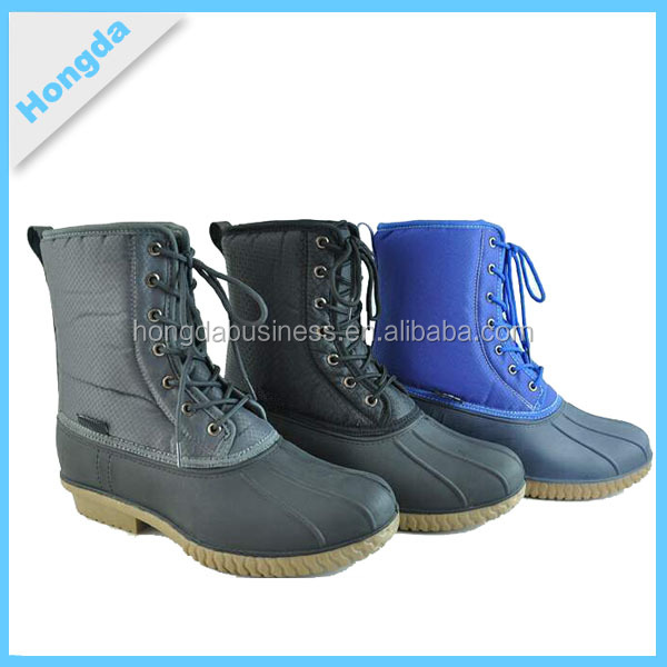 cheap man boot good quality duck boot lace up filled boots