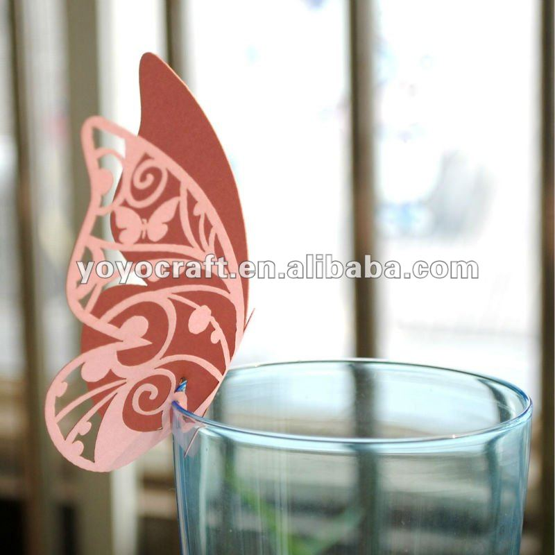 Luxury Pearlescent Laser-cut Glass Place, Seat Cards,butterfly place cards In Various Designs