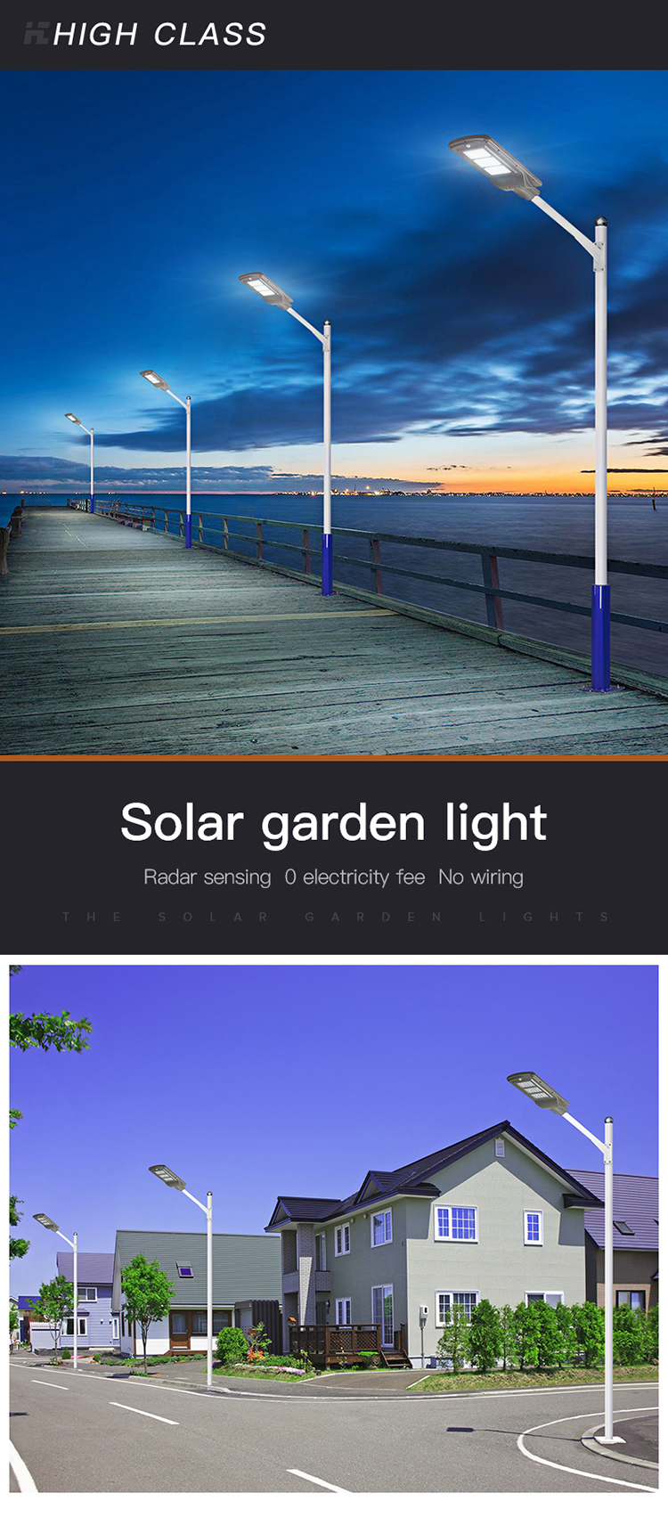 High lumen SMD 10w 20w 40w 50w 60w 100w IP65 outdoor integrated motion sensor all in one solar led street light price