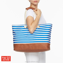 High quality handbag women blue striped custom canvas beach bag with rope handles