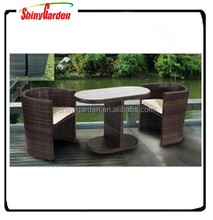 3-piece Rattan Wicker Set Outdoor Backyard Bistro Dining Table and Chair with Cushion, garden rattan furniture set