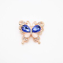 Glass Crystal Rhinestone Lady Brooch Blue Crystal Butterfly Beautiful Woman Brooch
