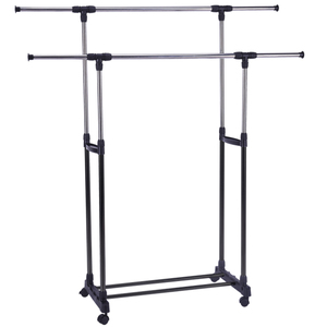 telescopic coat garment clothes drying rack stand adjustable hanger on wheel