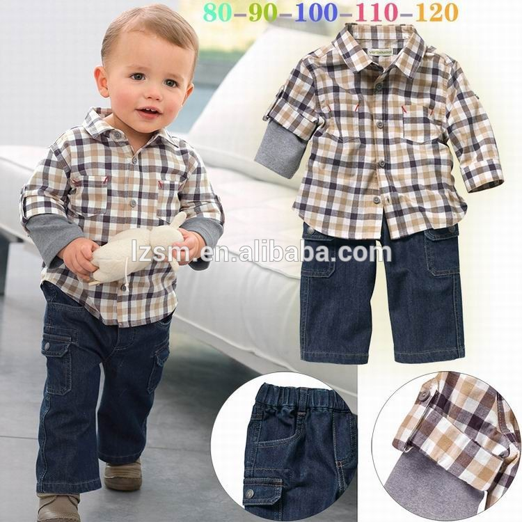 387734e5aaf5e Europa estilo vaquero de algodón dos- pieza patrón de cuadrícula otoño de  ropa para niños