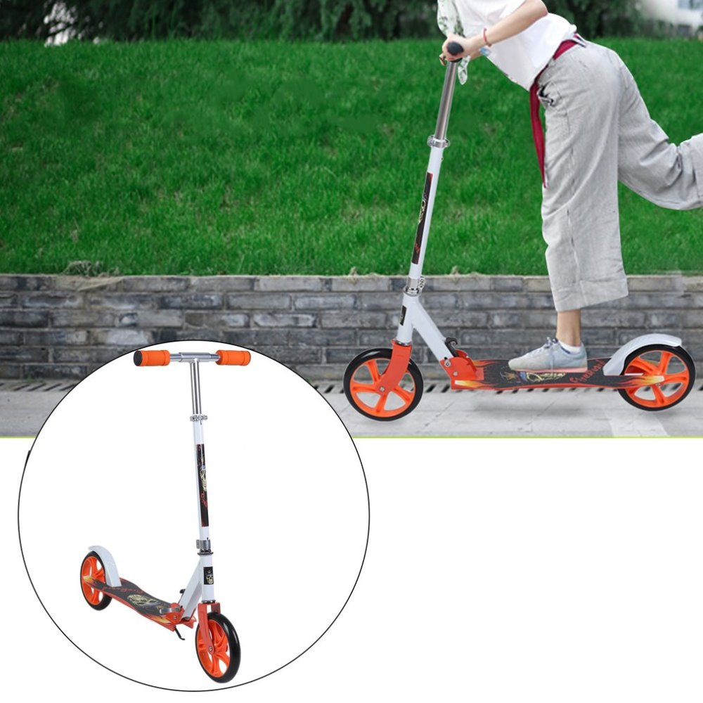 Folding Two 205mm Wheel Height Adjustable Adult Kick Scooter Portable Bicycle