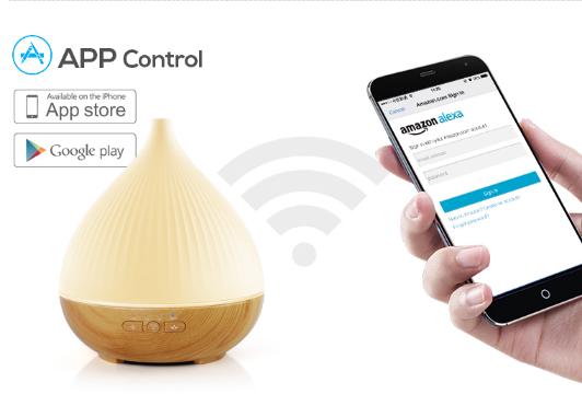 7 LED De Colores Compatible Con Alexa Y Google Home Control De Voz Inteligente Humidificador De Vapor De Aceite Fragante Con Aromaterapia Ultras/ónico Inteligente De 300 Ml Con Wi-Fi