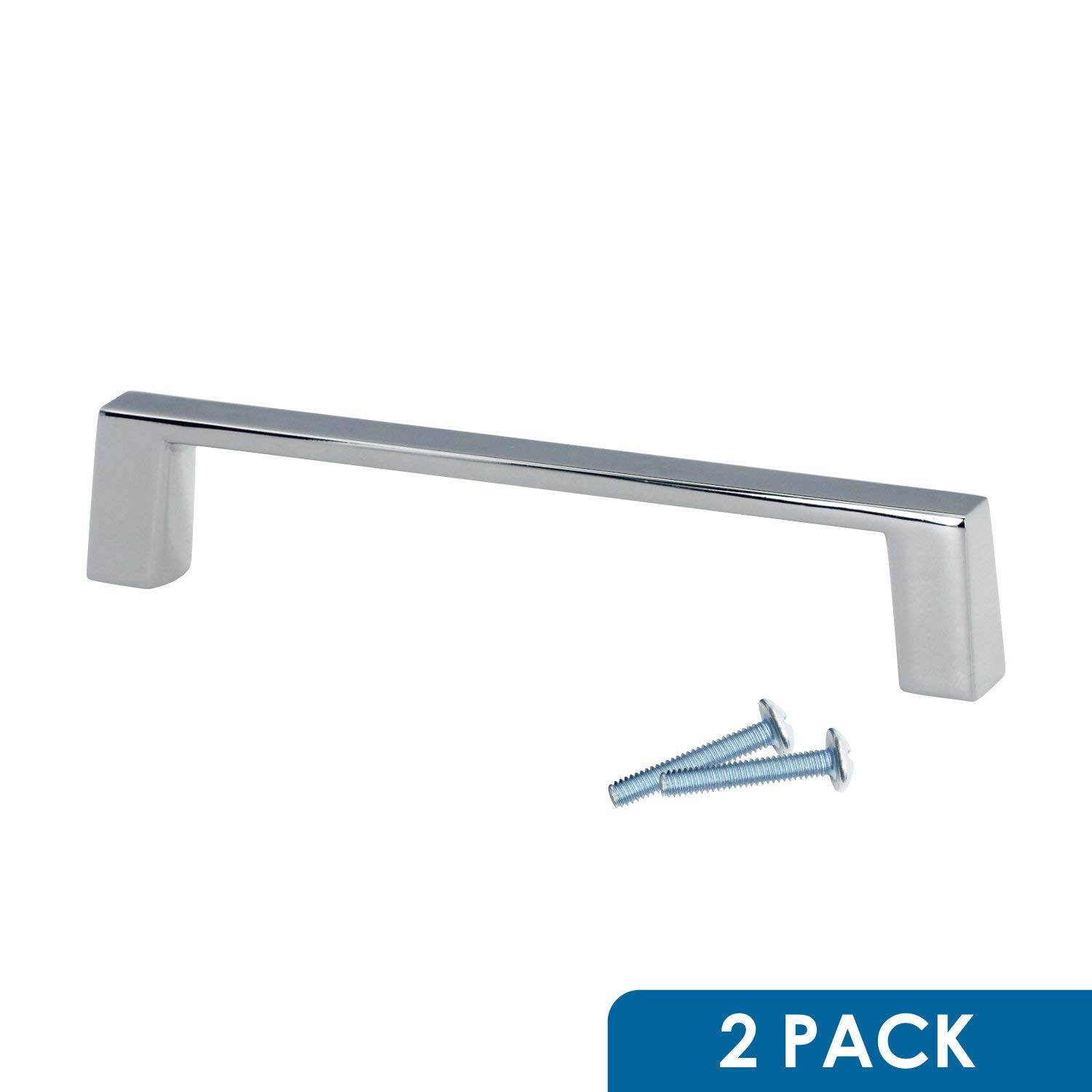 "2 Pack Rok Hardware 6"" (152mm) Hole Sleek Square Style Chrome Kitchen Vanity Dresser Cabinet Pull Handle 6-3/8"" (161mm) Overall Length P701152CH"