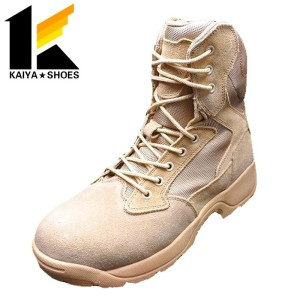 Factory price tan suede leather side zipper military army boots for desert storm