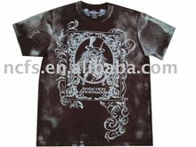 Newest brand men's Tee with discharge print, heavy snow stone wash