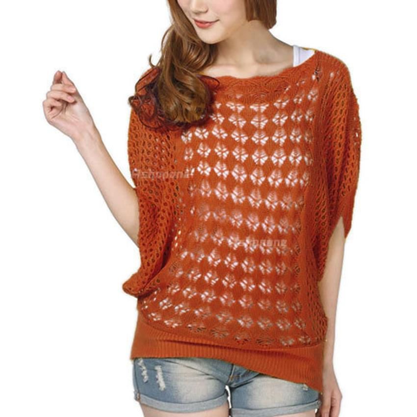 11dd3210cebefc Get Quotations · 2015 Fashion Spring Womens Ladies Casual Loose Batwing  Sleeve Hollow Out Pullover Knit Jumper Tops Coats