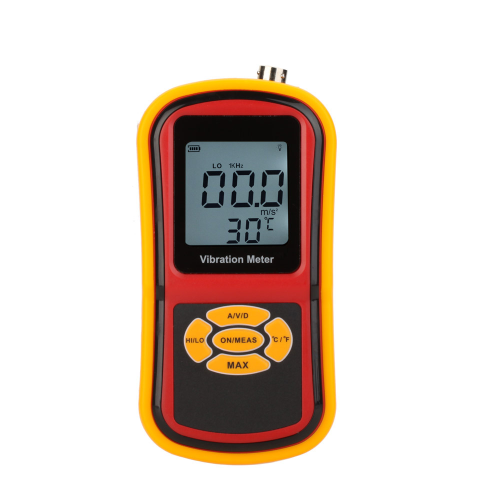 GM63B Portable Ultrasonic Digital Vibrometer Vibration Analyzer Meter Temperature Meter with LCD Backlight & Max. Hold