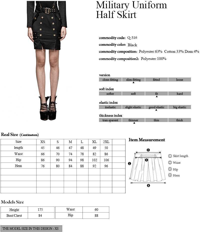 Q-316 PUNK RAVE Delicate Military Uniform Warrior Wrapped Mini Half Skirt