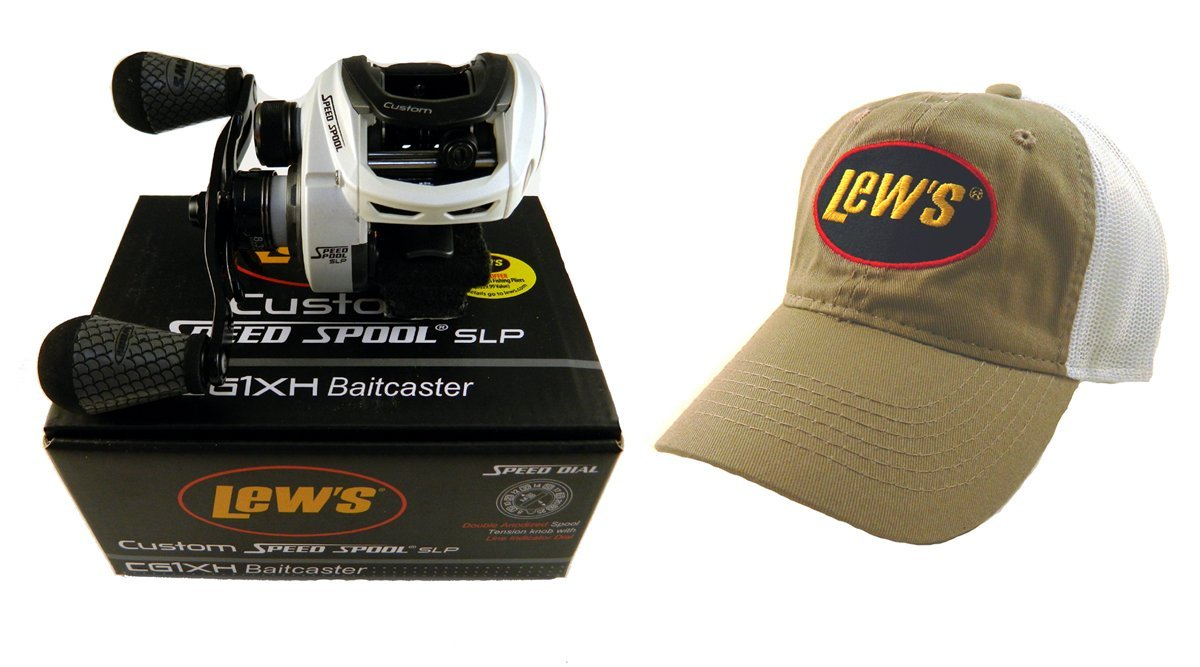 Bundle - Lew's Custom Speed Spool 8.3:1 CG1XH Baitcast Reel with Hat