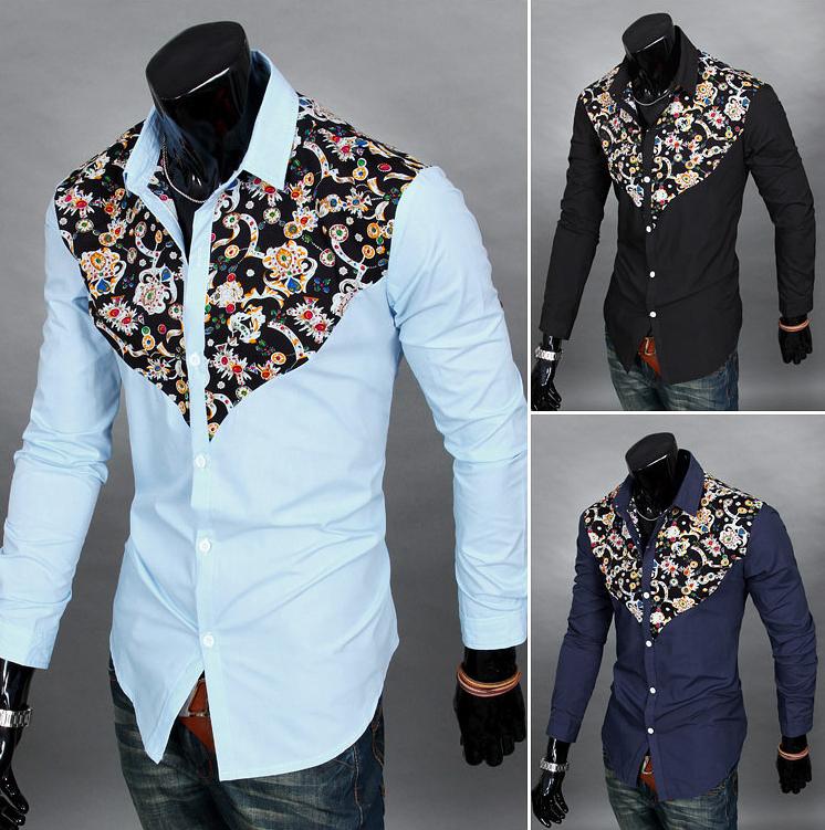 New Korean Men s Slim Fit Floral Long Sleeve Casual T Shirt Wholesale - Buy T  Shirt Wholesale 0087b58fbeb6