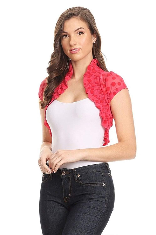 Fashion Secrets Juniors Polka Dots Short Sleeve Lace Bolero Shrug Cardigan