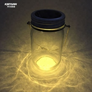 Steel wire handle led colored mini mason jar night light with solar lights