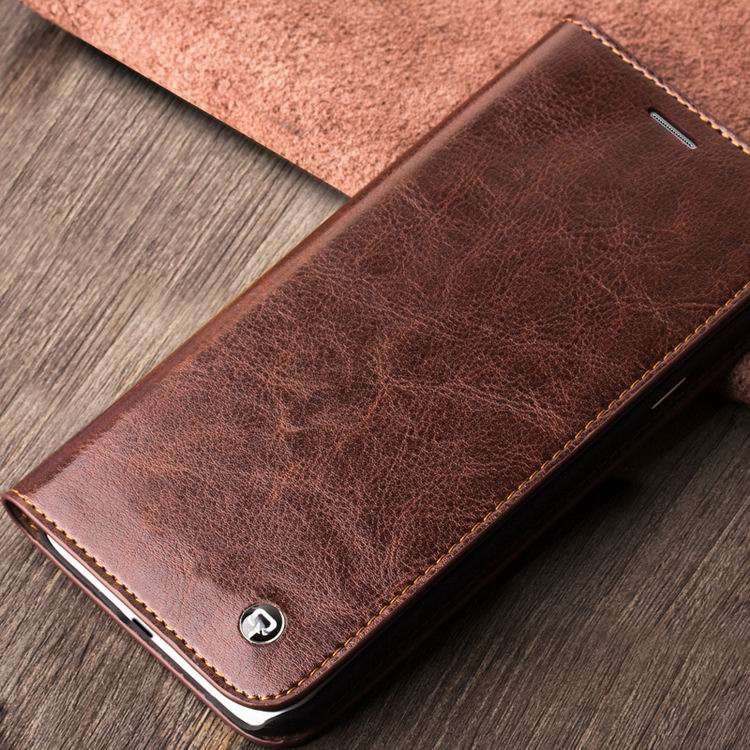 QIALINO Customized Logo Printed Made By Hand Cow Leather Dropshipper For Samsung Case A8, Black;brown