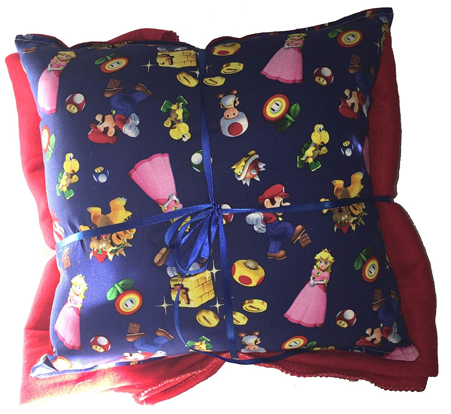 efffc0b0dc Get Quotations · Mario Brothers Pillow And Blanket Mario Run Pillow and  Blanket HANDMADE In USA Pillow Set