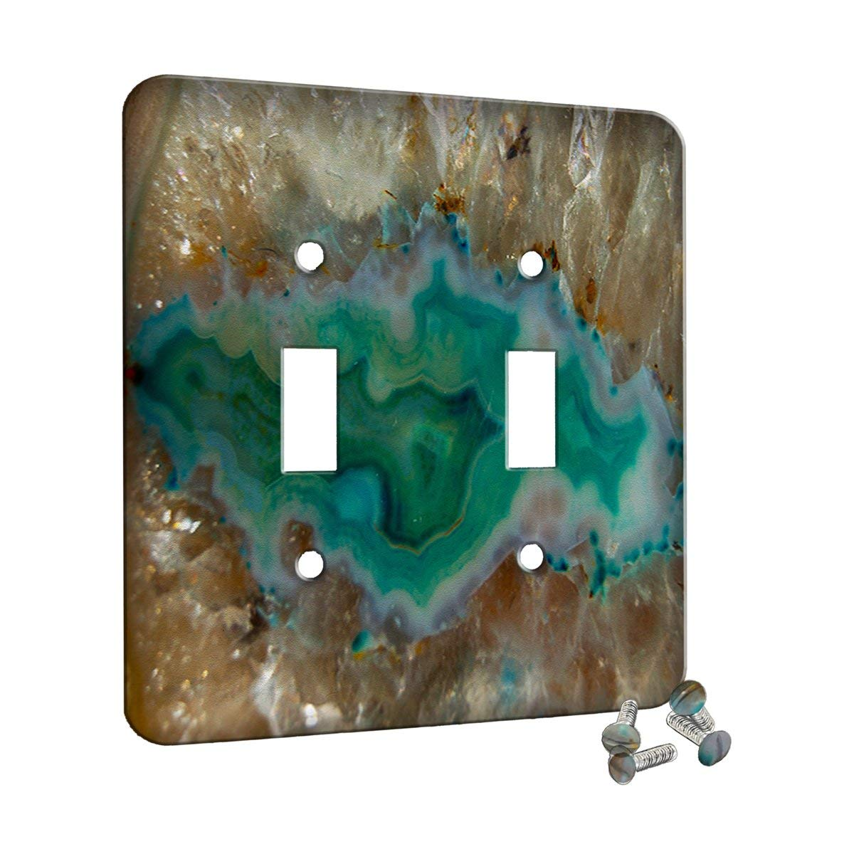 Agate Crystal Turquoise - Decor Switch Plate Cover Metal (2 Gang Switch)