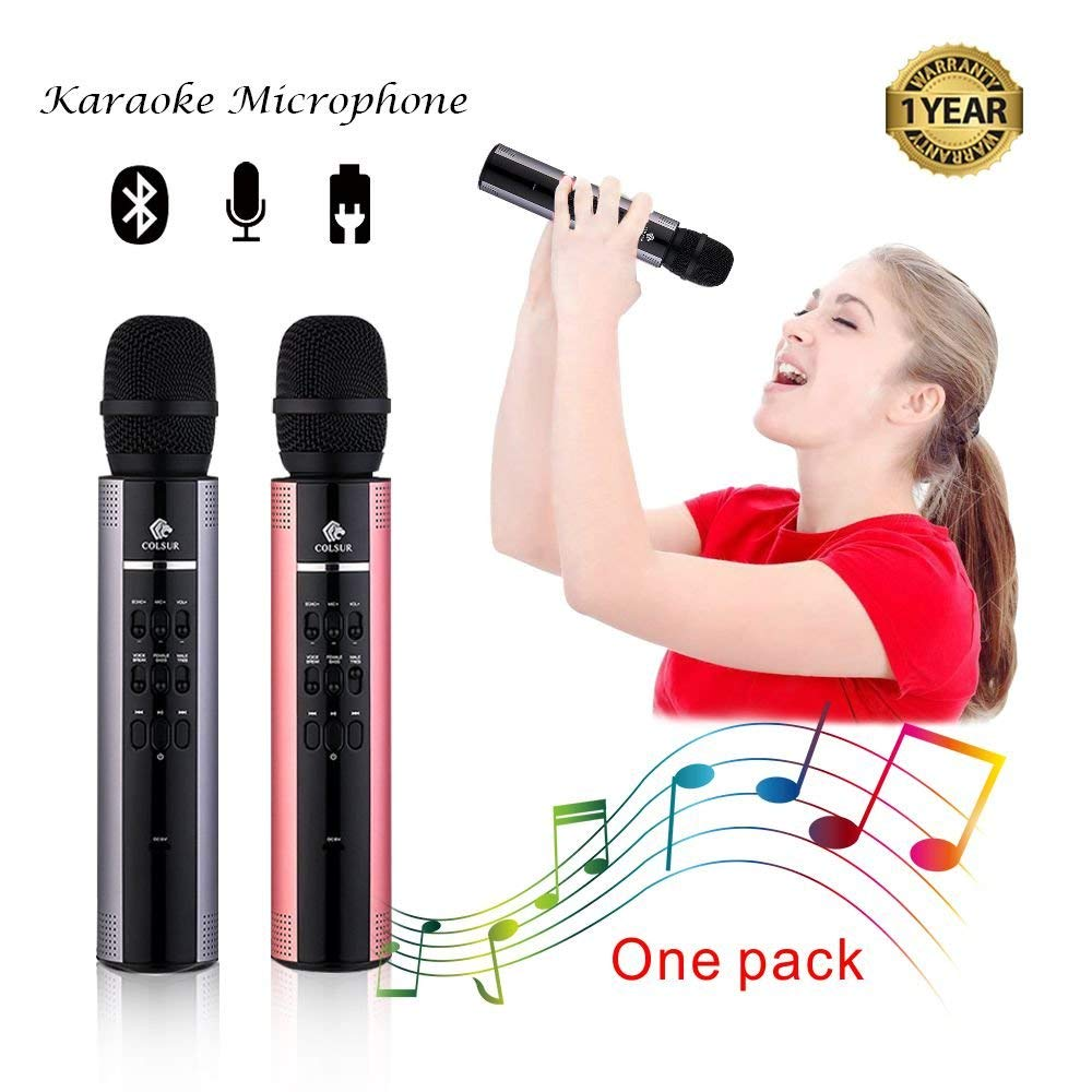 Karaoke Microphone Wireless Bluetooth speaker Portable mic for kids and adults Gift with ipone home professional karaoke machine,Magic sing voice,Rockn' Roll Parties,Solo Parties(Gray)