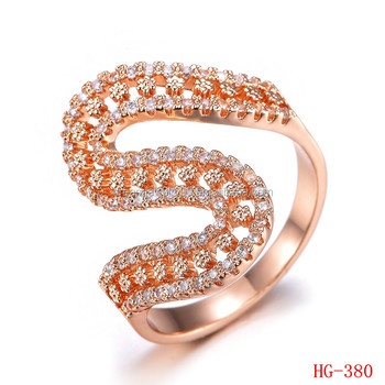 S Shaped Micro Cz Zircon Stones Ring Wedding Finger Rings Rose Gold