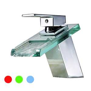 Glass Waterfall Bathroom Basin Sink Led Water Faucet Basin Faucet with LED Light