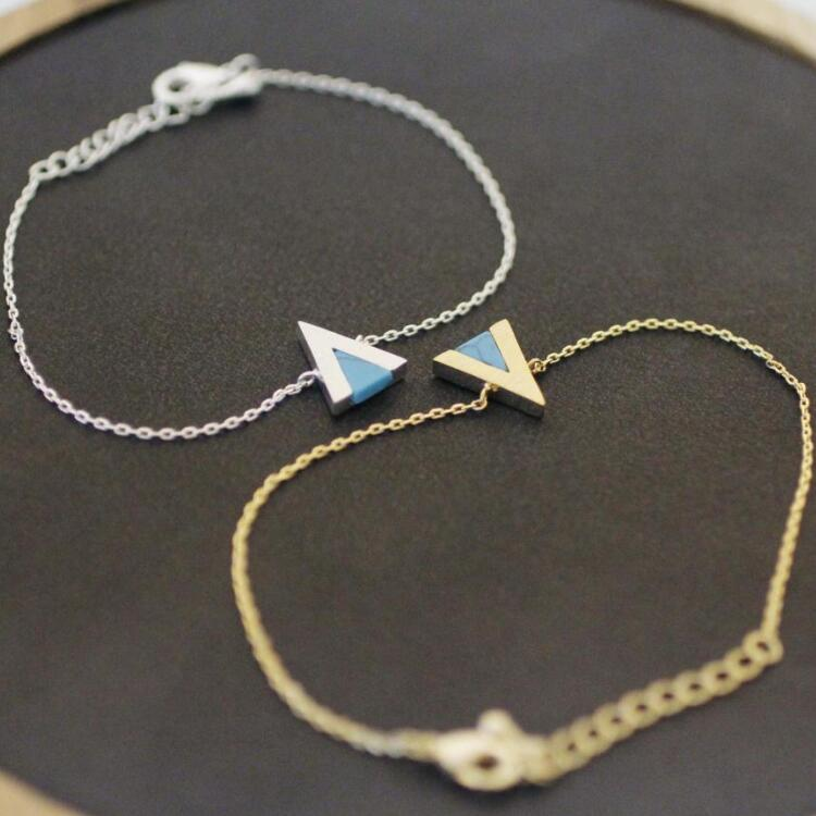 Simple Modern Style Women Silver Turquoise Stone Jewelry Triangle Charm Bracelet