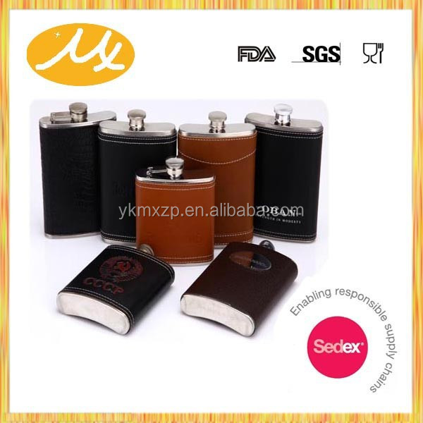 18/8 stainless steel leather wrapped hip flask/welding hip flask/liquor