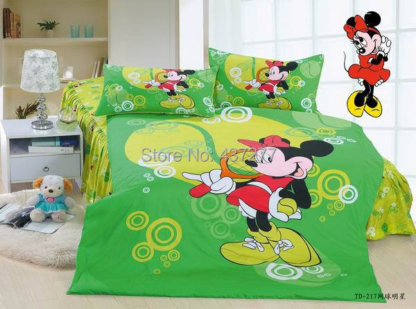 Sports Minnie Mouse Tennis home decor - Bedroom twin full cotton bedding sets 4/5pc with duvet cover bed sheets comforter sets