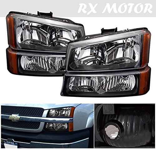 RXMOTOR HL-CH912030BA 2003-2006 Chevy Silverado 1500 2500 3500 Headlight Replacement And Bumper Signal Lamps Assembly