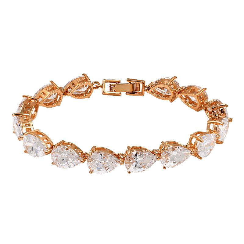 Teardrop Cubic Zirconia Tennis Bracelet Wedding Bridal Bracelets in Rose Gold / Rhodium Silver
