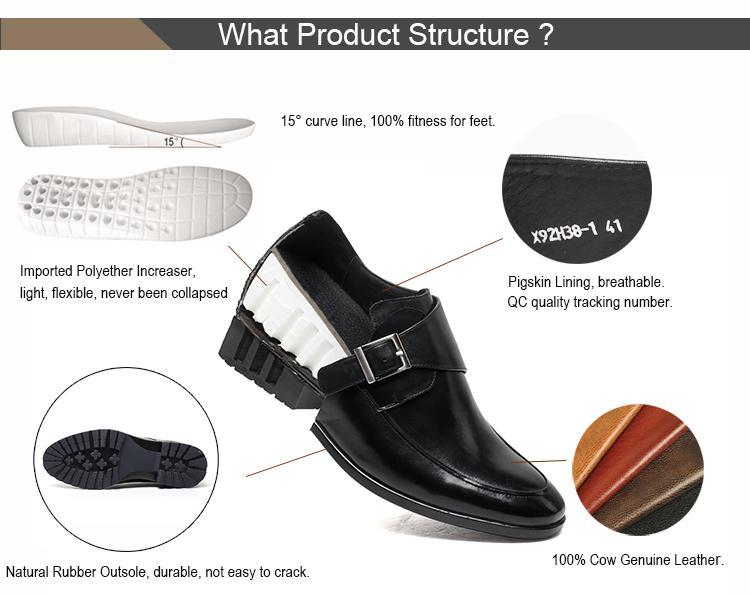 Nova tendência da moda britânica confortável altura crescente elevador sapatas de vestido dos homens do casamento