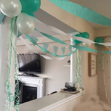 Mint and White CREPE PAPER STREAMER Birthday Party Supplies Decorations