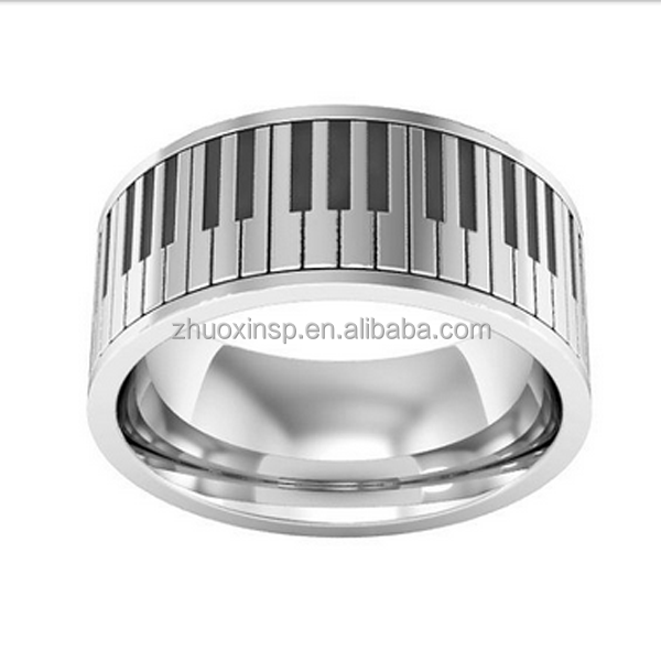 Stainless Steel Fashion Piano Rings, music ring