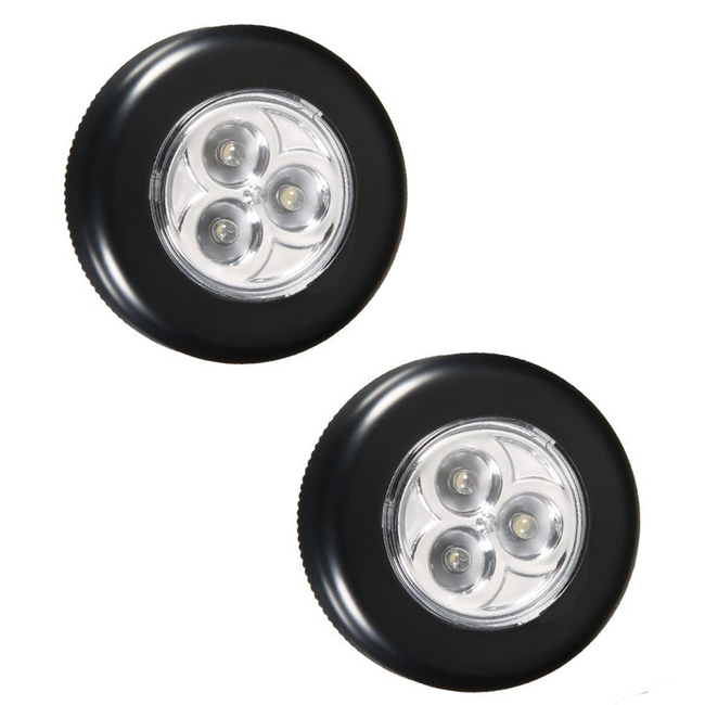 Battery Powered Quality ABS Plastic 3 LED Touch Light Round 3 LED Push Light