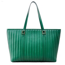 green embroidery grain big capacity leather custom tote bag for women